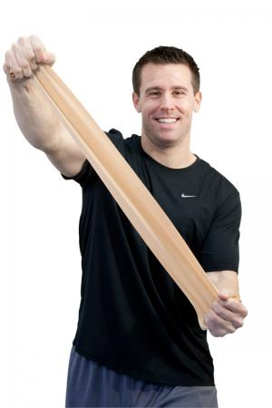 """Sup-R Band® is made from a premium latex free formula and excels compared to other exercise band: our TPE latex free formula has similar use and strength characteristics to latex exercise bands; similar puncture resistance; similar tear and burst strength; requires similar force to stretch and contract; 5"""" width; has core for use with dispenser systems; made of Thermoplastic Elastomer (TPE); color-coded in Thera-Band® colors. Roll is packaged in a dispenser box. 50-yard roll has core that fits most dispense"""