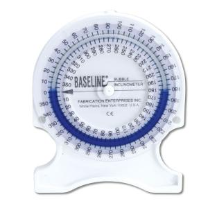 Bubble® Inclinometer is used to measure range-of-motion (ROM). Standards are codified in the AMA Guide to the Evaluation of Permanent Impairment, third edition. Place inclinometer near joint to be measured; turn dial until scale reads 0; take joint through its range; read range traveled directly from dial. Some neck and back measurement protocols require the simultaneous use of 2 inclinometers. Bubble® Inclinometer