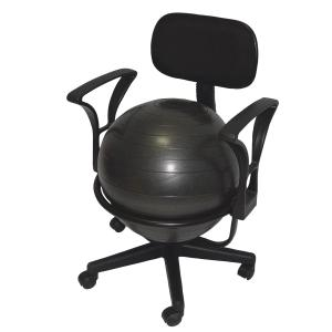 """CanDo® metal ball chair includes a 45 cm inflatable exercise ball and chair base. The mobile ergonomic seating systems combine the benefits of ball therapy with the convenience of a chair base. Ball held securely in place by the base. Casters glide on carpet or hard surfaces. Light assembly required. The metal ball chair is available with our without arms. Locking casters sold separately. Metal - Mobile - with Back - with Arms - with 18"""" Ball"""
