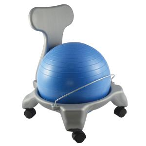 """CanDo® plastic ball chair includes either a 50 cm (adult) or 38 cm (child) inflatable exercise ball and chair base. The mobile ergonomic seating systems combine the benefits of ball therapy with the convenience of a chair base. Ball held securely in place by the base. Casters glide on carpet or hard surfaces. Light assembly required. The plastic ball chair is available in child and adult size. Locking casters sold separately. Plastic - Mobile - with Back - Child Size - with 15"""" Ball"""