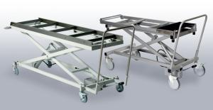 Patient lifting and transport trucks for mortuaries, left: made of powder coated steel, right: made of stainless steel