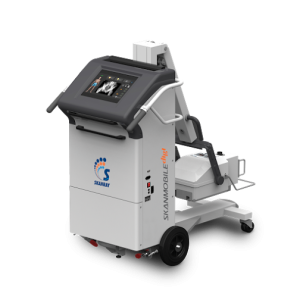 Digital Mobile X-ray: Extremely light, easily manoeuvrable even in congested rooms, versatile positioning options and maximum efficiency of X-ray dose. 200kHz generator enables highly uniform and efficient X-ray dosage with near-to-zero leakage radiation