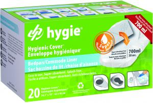 Bedpan/Commode hygienic cover with super-absorbent pad