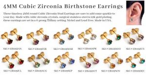 Earrs Cubic Zirconia Birthstone Earrings