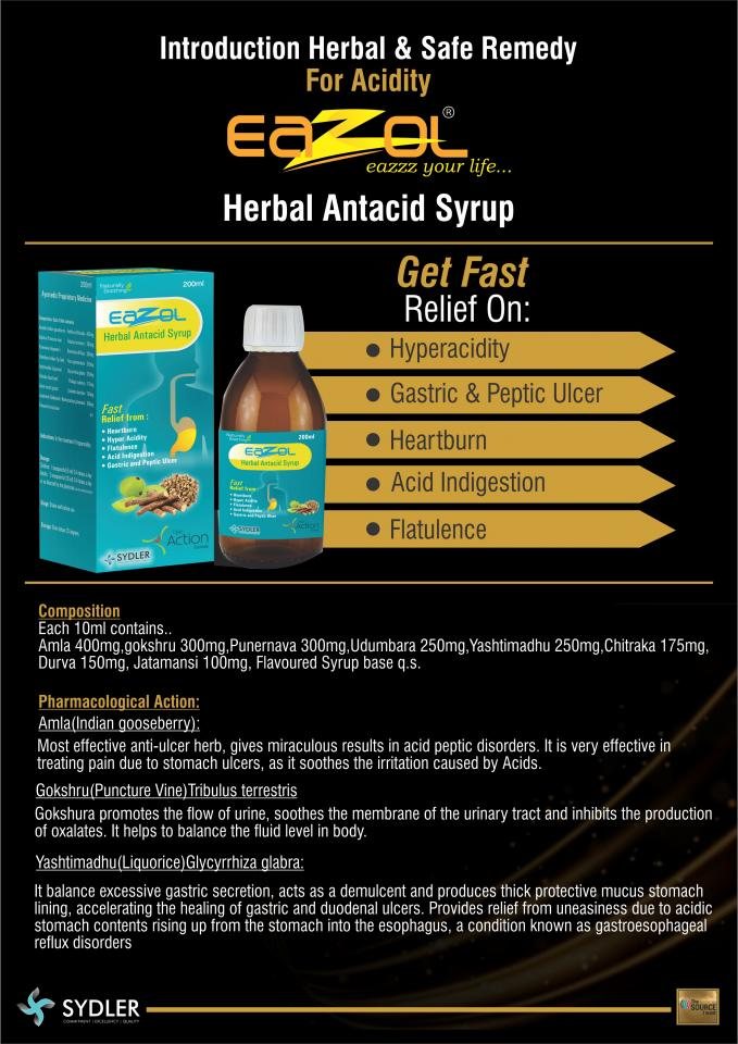 Eazol Herbal Antacid Syrup Sydler Remedies Private Limited