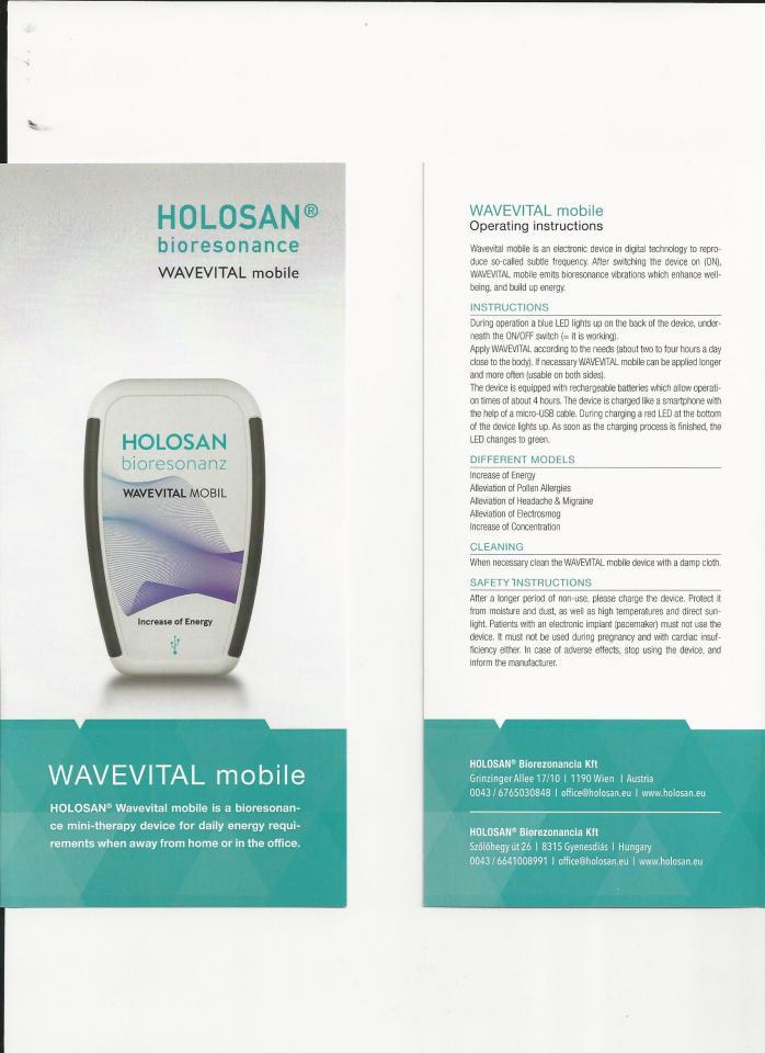 WaveVital bioresonance therapy-to-go | Holosan bioresonance