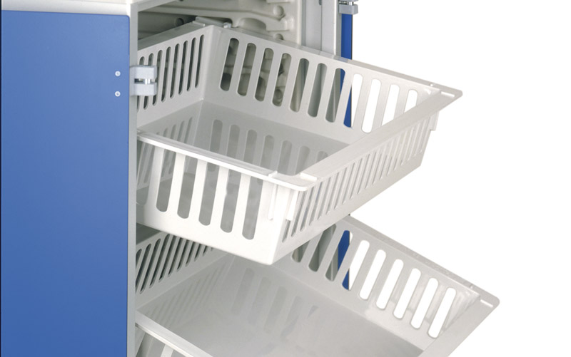 trays with stopping system in two positions