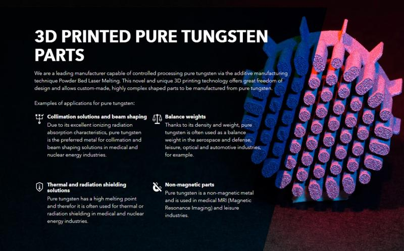 3d Printed Pure Tungsten Parts Dunlee