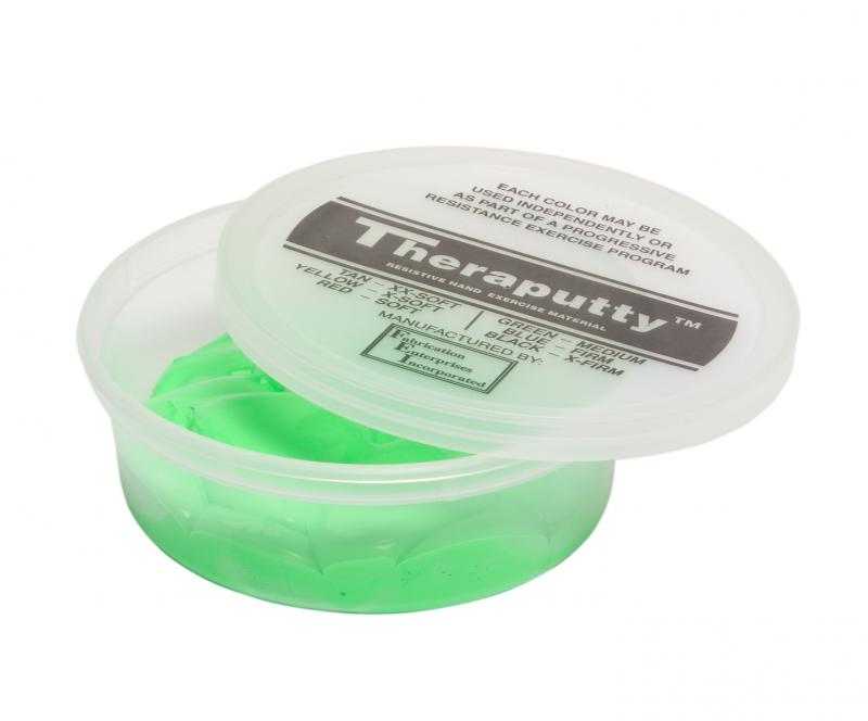 CanDo® Theraputty® hand exercise material is the standard in resistive hand exercise material. Each color-coded putty has a different consistency ranging from xx-soft for strengthening the weakest grasp to extra-firm for developing a stronger grip. Available in convenient easy-to-open plastic containers (2, 3, 4 and 6 ounce) for individual patients to use at home and a choice of larger containers (1 and 5 pound) for the hospital or clinic. CanDo® Theraputty® material is gluten, latex and casein free. 6 oz -