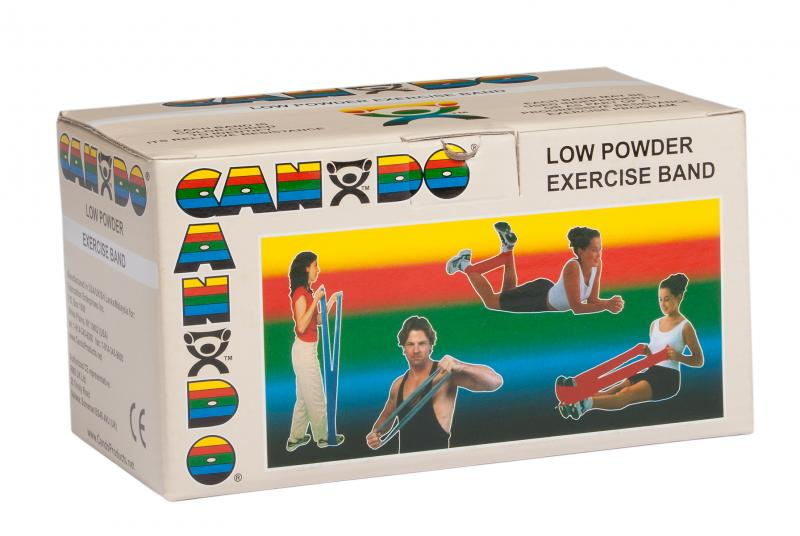 CanDo® resistive exercise band roll is packaged in a dispenser box. Unroll desired length of exercise band from dispenser box and cut with scissors. CanDo® high quality latex resistive exercise band has been used in clinics for rehabilitation, conditioning and training since 1987. It has become a well known staple of many physical therapy programs. CanDo® exercise band is an economic solution for upper and lower body exercise. Lightweight, compact and portable. Durable. Effective when used alone, or with ha