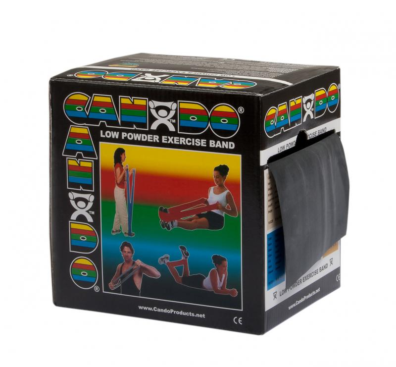 CanDo® resistive exercise band roll is packaged in a dispenser box. Simply unroll desired length of exercise band from dispenser box and cut with scissors. CanDo® high quality latex resistive exercise band has been used in clinics for rehabilitation, conditioning and training since 1987. It has become a well known staple of many physical therapy programs. CanDo® exercise band is an economic solution for upper and lower body exercise. Lightweight, compact and portable. Durable. Effective when used alone, or