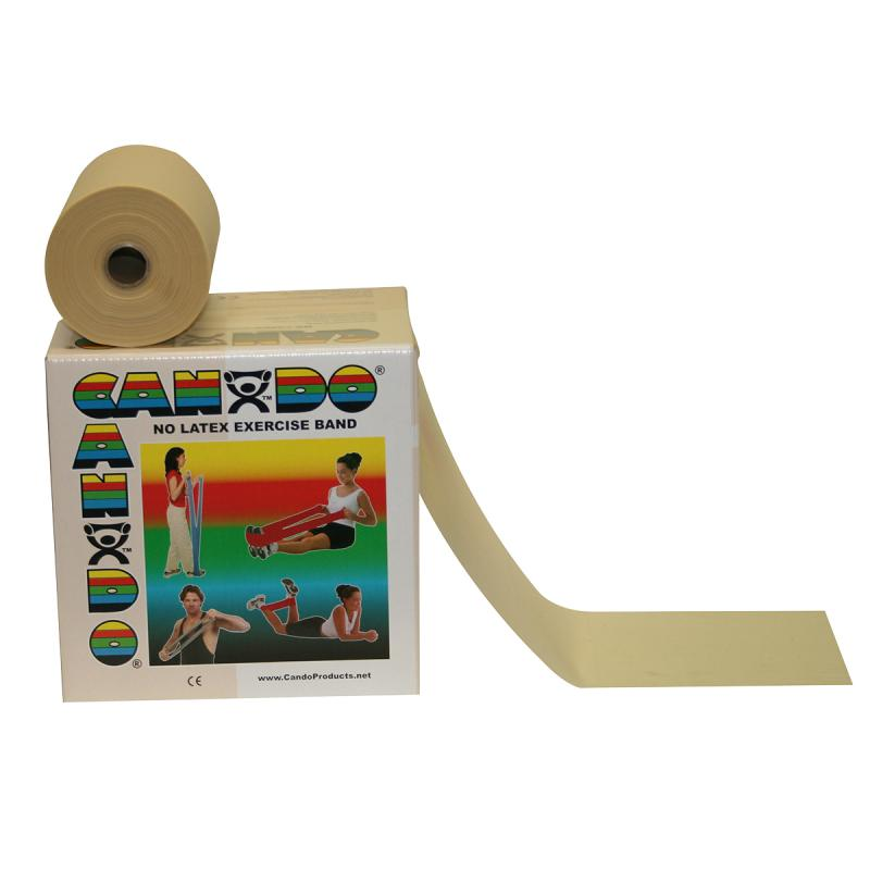 CanDo® resistive band exerciser roll is packaged in a dispenser box. Simply unroll desired length of exercise band from dispenser box and cut with scissors. CanDo® high quality synthetic latex free exercise band has been used for physical therapy and athletic training by clinics, fitness centers and individuals since 1987. It has become a well known staple of many physical therapy programs. The latex free formula has been specially created to mimic the stretch characteristics of latex band. CanDo® exercise