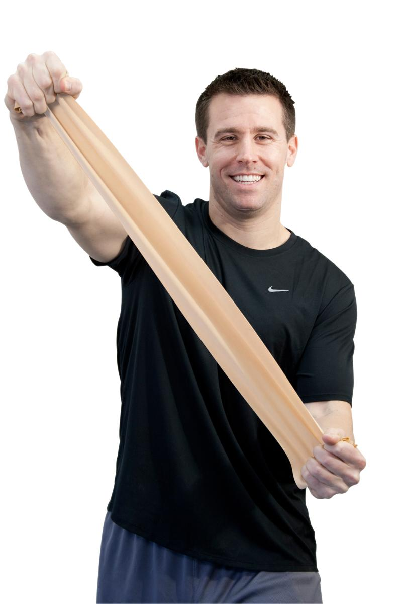 "Sup-R Band® is made from a premium latex free formula and excels compared to other exercise band: our TPE latex free formula has similar use and strength characteristics to latex exercise bands; similar puncture resistance; similar tear and burst strength; requires similar force to stretch and contract; 5"" width; has core for use with dispenser systems; made of Thermoplastic Elastomer (TPE); color-coded in Thera-Band® colors. Roll is packaged in a dispenser box. 50-yard roll has core that fits most dispense"