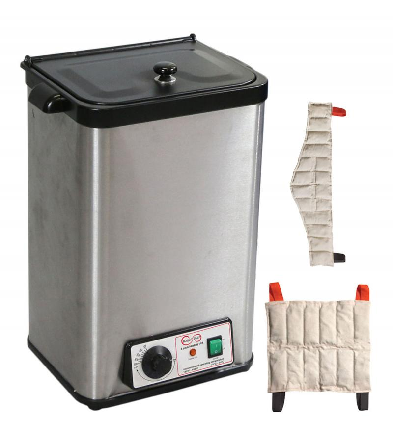 The Relief Pak® Heating Unit 4-Pack Capacity effectively heats moist heat packs up to 170⁰ in an insulated hot water bath. Insulated design keeps heat from dispersing out of the unit, allowing it to retain heat. It is made from durable stainless steel that's perfect for high traffic clinics and its compact stationary design allows it to easily sit on a countertop. This heating unit features adjustable temperature control and a glowing orange light illuminates when the unit has reached its desired temperatur