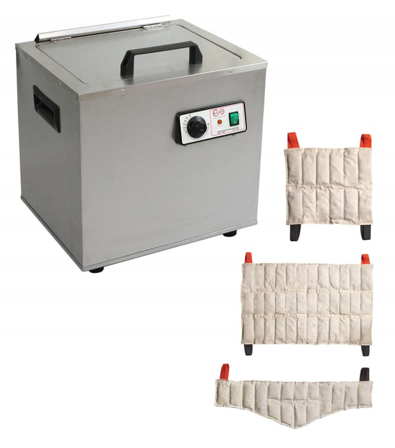 The Relief Pak® Heating Unit 6-Pack Capacity effectively heats moist heat packs up to 170⁰ in an insulated hot water bath. Insulated design keeps heat from dispersing out of the unit, allowing it to retain heat. It is made from durable stainless steel that's perfect for high traffic clinics and its compact stationary design allows it to easily sit on a countertop. This heating unit features adjustable temperature control and a glowing orange light illuminates when the unit has reached its desired temperatur