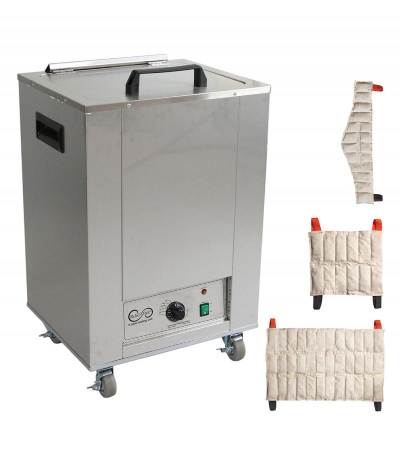 The Relief Pak® Heating Unit 8-Pack Capacity effectively heats moist heat packs up to 170⁰ in an insulated hot water bath. Insulated design keeps heat from dispersing out of the unit, allowing it to retain heat. It is made from durable stainless steel that's perfect for high traffic clinics and its mobile design with rolling feet allow it to be easily moved across a room. This heating unit features adjustable temperature control and a glowing orange light illuminates when the unit has reached its desired te