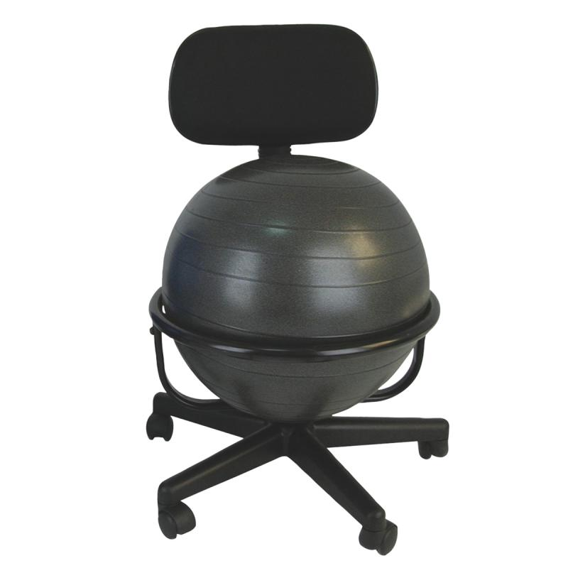 "CanDo® metal ball chair includes a 45 cm inflatable exercise ball and chair base. The mobile ergonomic seating systems combine the benefits of ball therapy with the convenience of a chair base. Ball held securely in place by the base. Casters glide on carpet or hard surfaces. Light assembly required. The metal ball chair is available with our without arms. Locking casters sold separately.  Metal - Mobile - with Back - no Arms - with 18"" Ball"