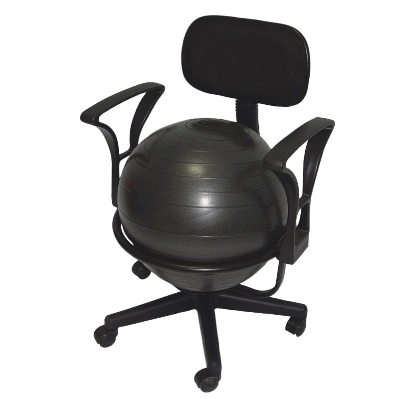"CanDo® metal ball chair includes a 45 cm inflatable exercise ball and chair base. The mobile ergonomic seating systems combine the benefits of ball therapy with the convenience of a chair base. Ball held securely in place by the base. Casters glide on carpet or hard surfaces. Light assembly required. The metal ball chair is available with our without arms. Locking casters sold separately.  Metal - Mobile - with Back - with Arms - with 18"" Ball"
