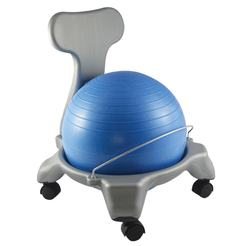 "CanDo® plastic ball chair includes either a 50 cm (adult) or 38 cm (child) inflatable exercise ball and chair base. The mobile ergonomic seating systems combine the benefits of ball therapy with the convenience of a chair base. Ball held securely in place by the base. Casters glide on carpet or hard surfaces. Light assembly required. The plastic ball chair is available in child and adult size. Locking casters sold separately.  Plastic - Mobile - with Back - Child Size - with 15"" Ball"