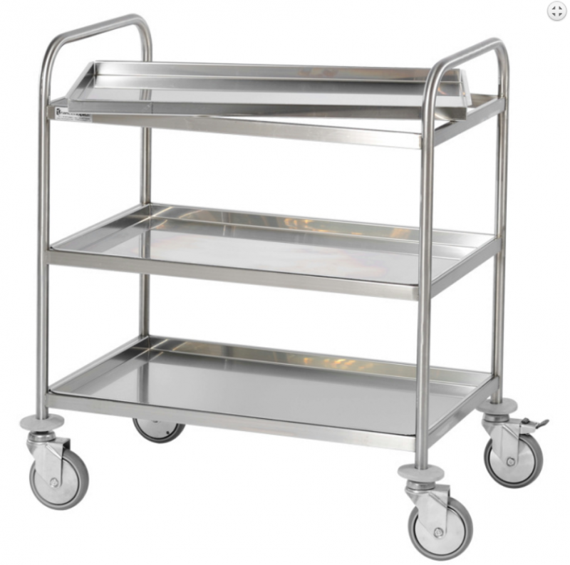 Stainless steel cart with 2 removable shelves 600x400 mm
