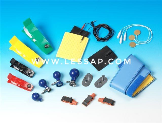 Reusable electrodes, Clamp electrodes, suction electrodes, adaptor clip, alligator clamp adapter, multifunction adapter for press stud or TAB and more.