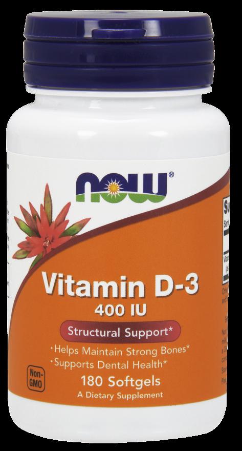 NOW Vitamin D3-400 IU 180 softgels