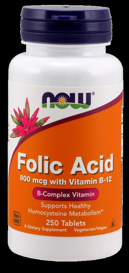 NOW Folic Acid 800 mcg with B12 Tabs 250s