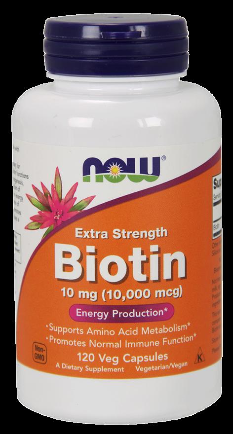 NOW Biotin 10,000 mcg Extra Strength Vcaps 120s