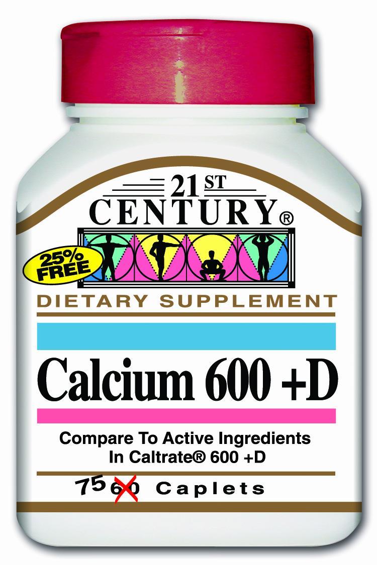 21st Century Calcium 600 + D Caplets 75's
