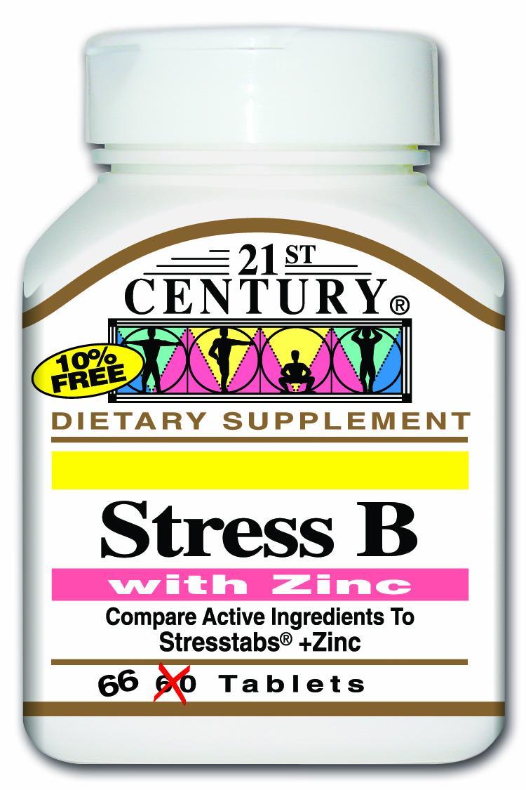 21st Century Stress B + Zinc Tabs 66's