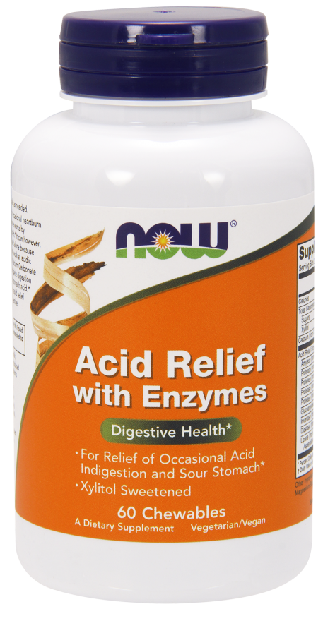 NOW Acid Relief with Enzymes Chewables