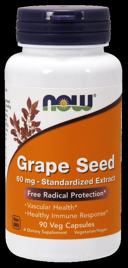 NOW Grape Seed 60 mg Veg Capsules
