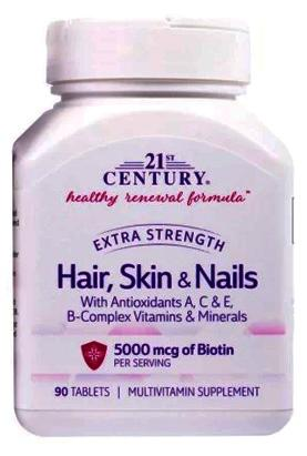 21st Century Extra Strength Hair, Skin & Nails Tabs 90's