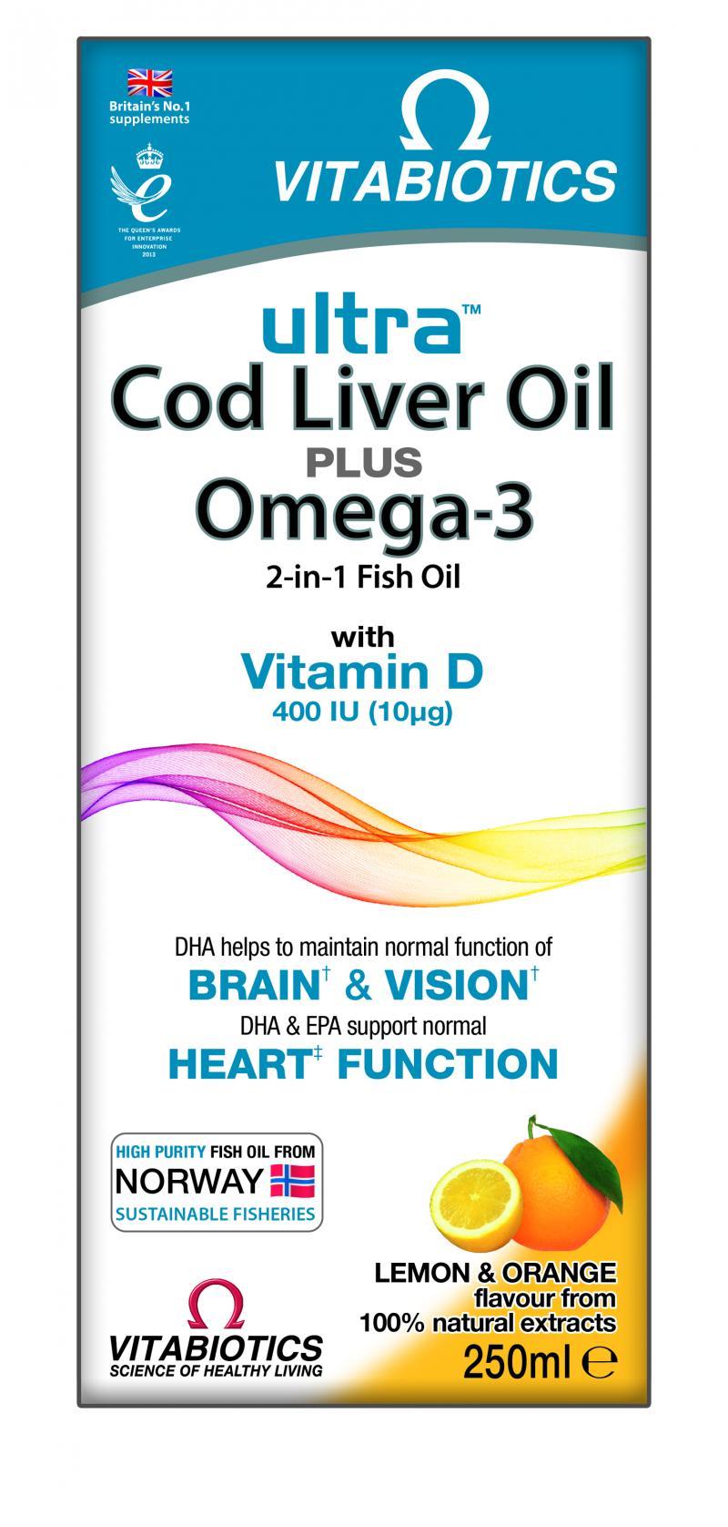Vitabiotics Ultra Omega 3 & CLO Liquid 250 ml
