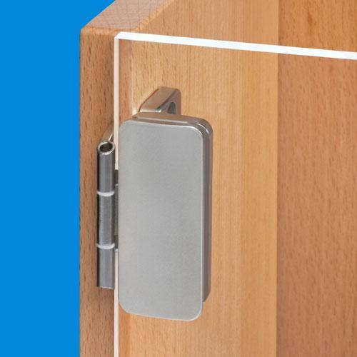 Overlay glass door hinge