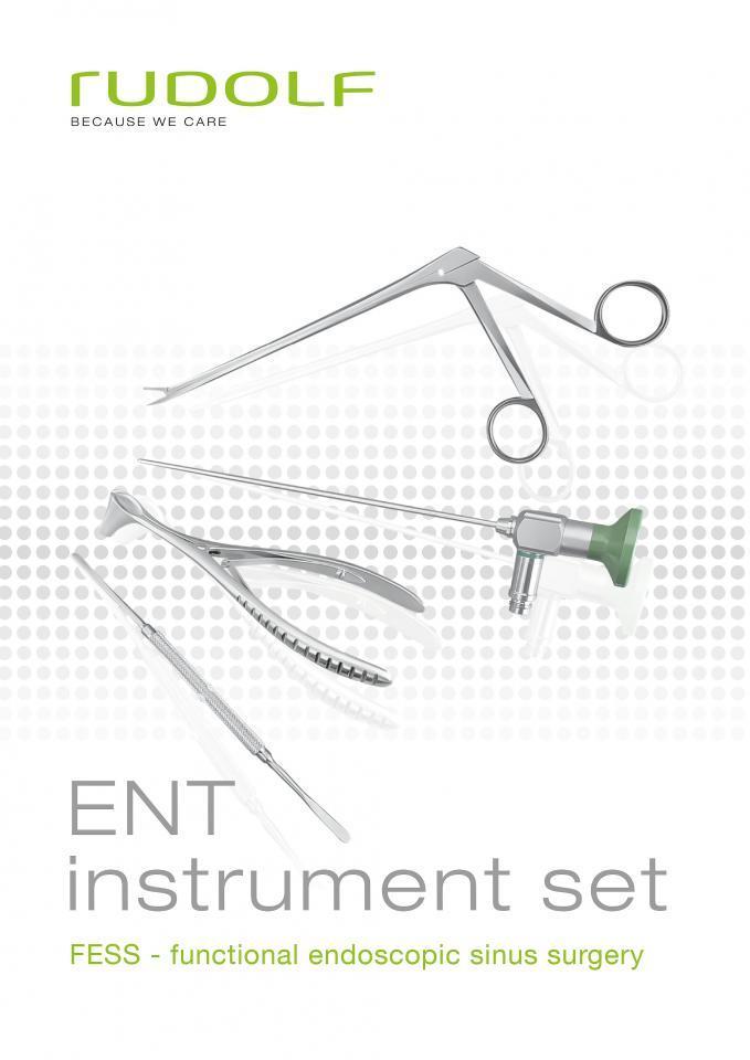 ENT instrument set for FESS (Functional endoscopic sinus surgery) , sinuscopes 2.7 mm and 4 mm , sinus punch sinus ostium seeker , sinuscopy trocar , septum needle , nasal speculum , nasal forceps , nasal cutting forceps