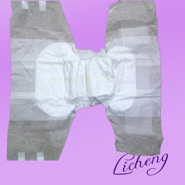 Adult Diaper with clothlike backsheet and velcro front tape