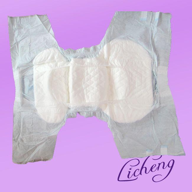 Adult Diaper with PE backsheet and two sides waist band