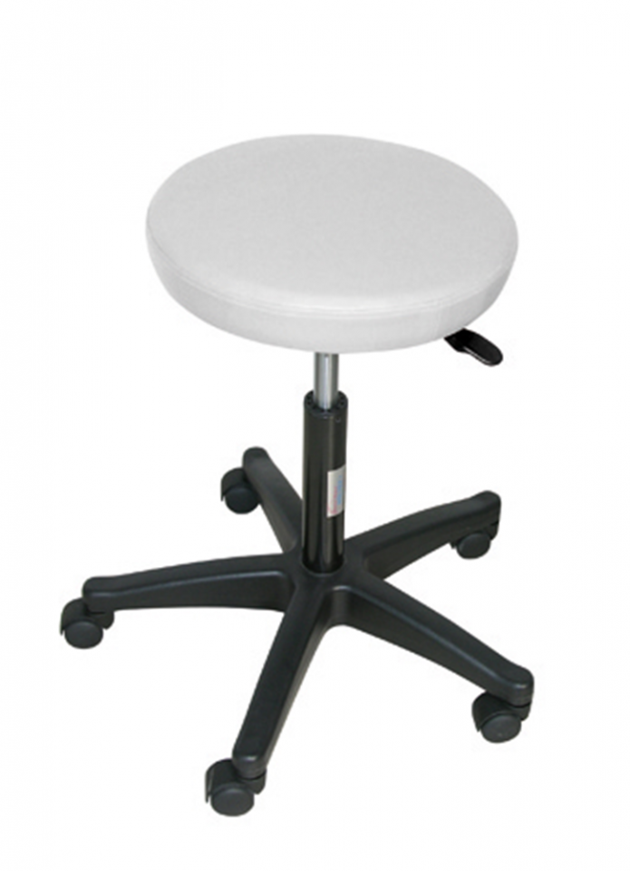 ADJUSTABLE STOOL 5 WHEELS NYLON FEET - WHITE (H SEAT 3.5 CM)