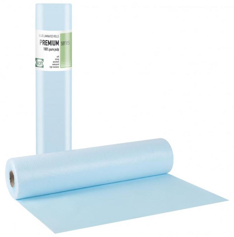 Pure pulp + Pe glue Light blue Roll