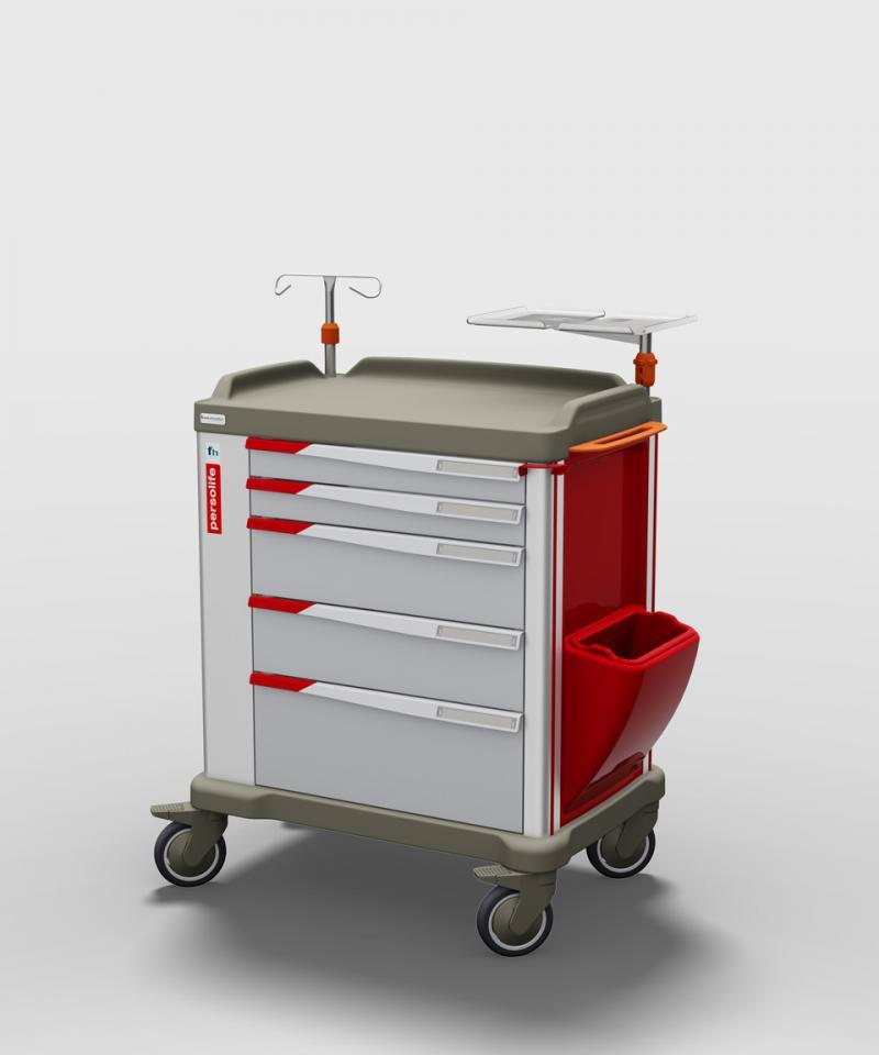 The PERSOLIFE emergency trolley by Francehopital with 600 mm drawers is available also in red