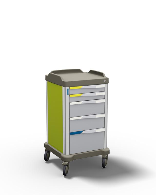 PRESTO small: a multipurpose trolley for healthcare by Francehopital - left side