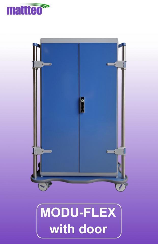 MODU-FLEX 2 section ISO modular transport trolley with doors + code lock + lower bumper