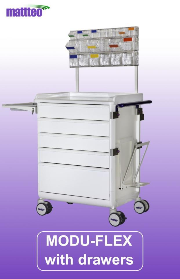 MODU-FLEX cart/trolley with telescopic drawers and working top