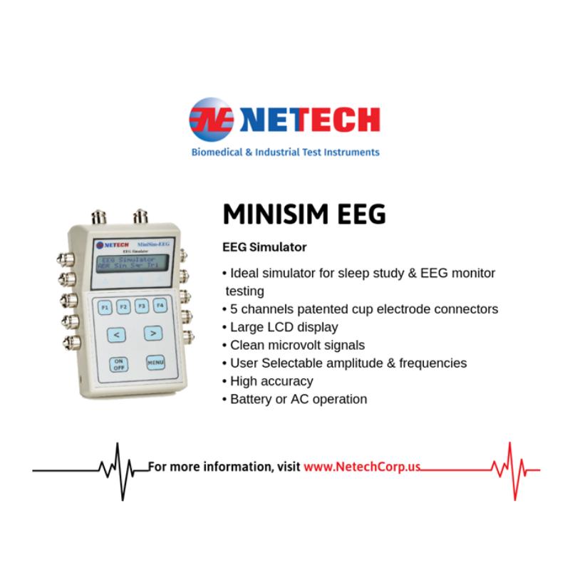MiniSim EEG Simulator is designed to test EEG instruments including Recorders and Sleep Study Monitors.