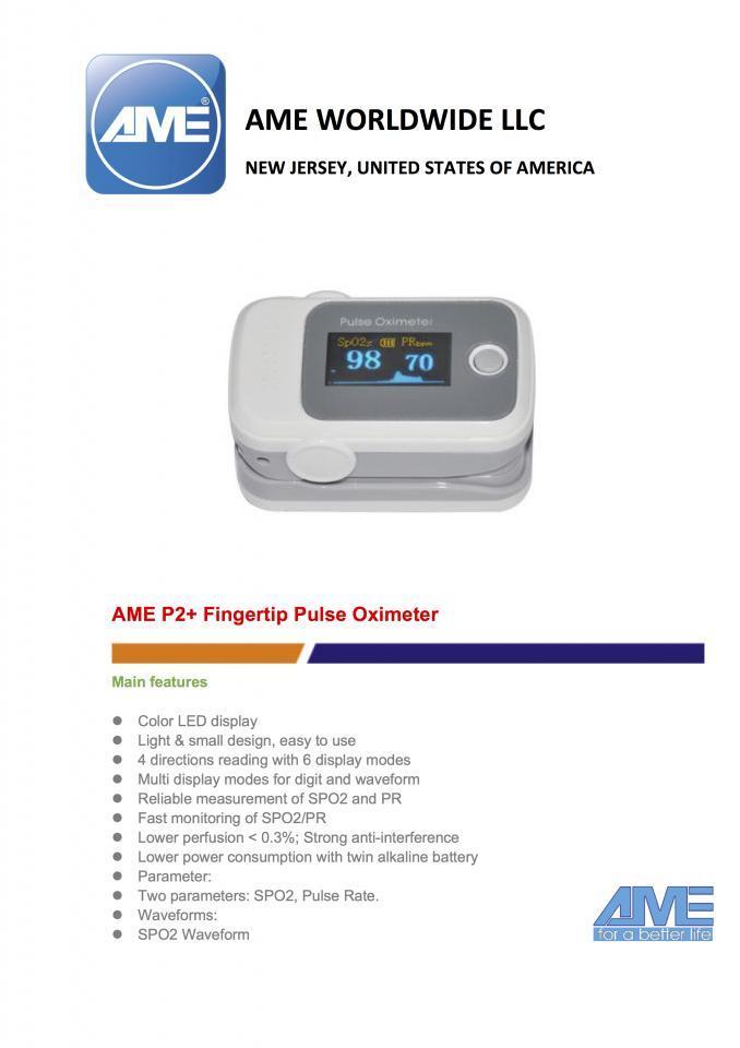 AME P2 Plus Pulse Oximeter Finger Type