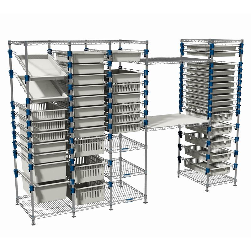 A large MOSYS-ISO shelving system: one of many possible combinations