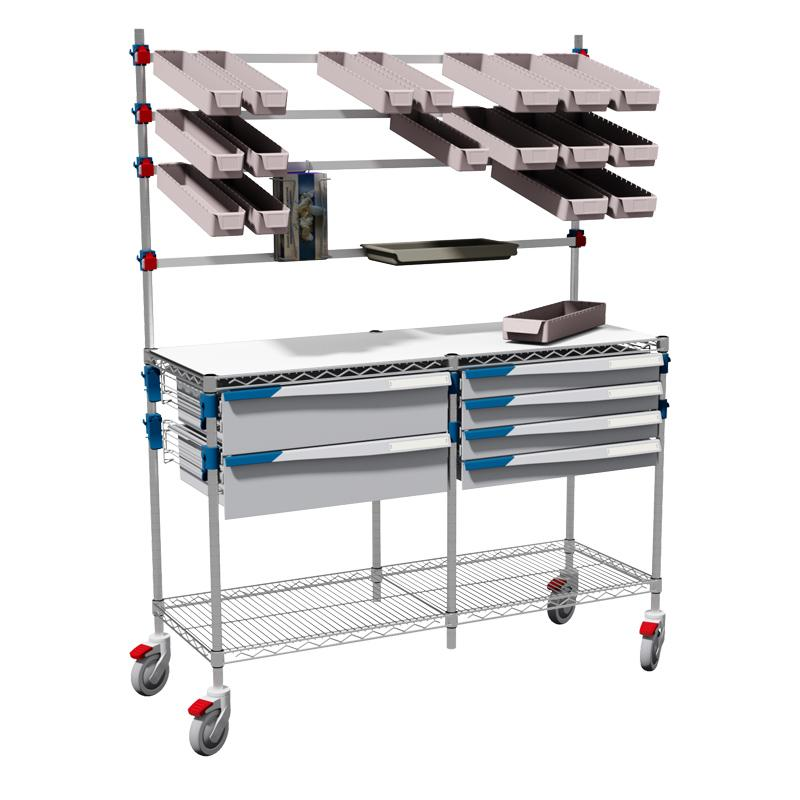 Picking station on wheels to be used by a standing operator. With bins on overbridge, 2x 600mm FH-Drawers, 4x 400mm FH-Drawers.