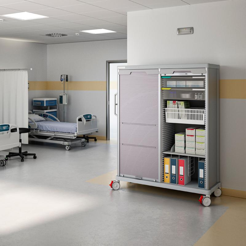 PRECISO TRS 180 cm transport column in a hospital room. One rolling shutter is closed, one is partially open