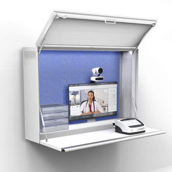 Visionflex Telehealth Cabinet with ProEX Desktop